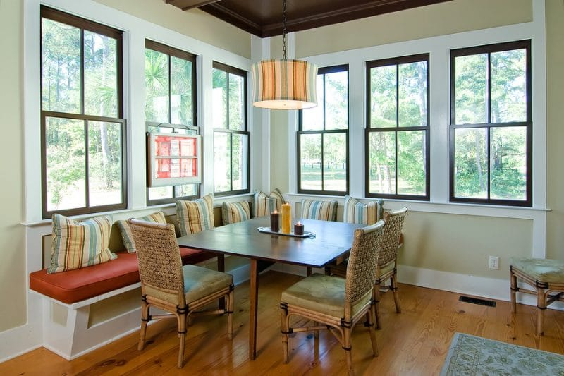 dindining room with view windows