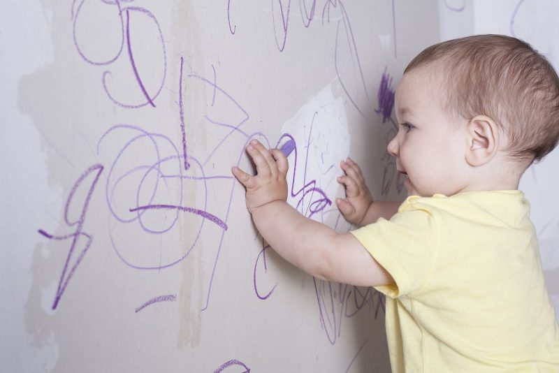 Crayon stains on the wall