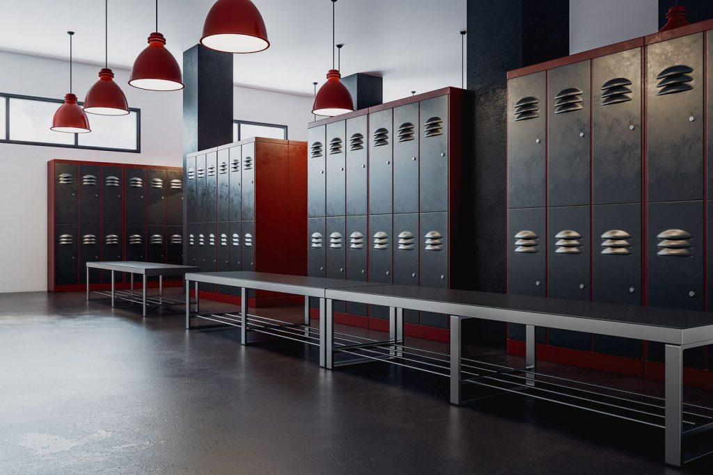 Clean locker room at school